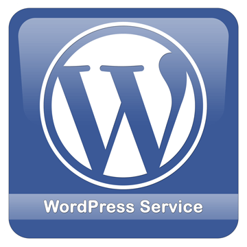 Blaues Logo mit weißem WordPress-Logo in der Mitte. Zusätzlicher Schriftzug: WordPress Service.